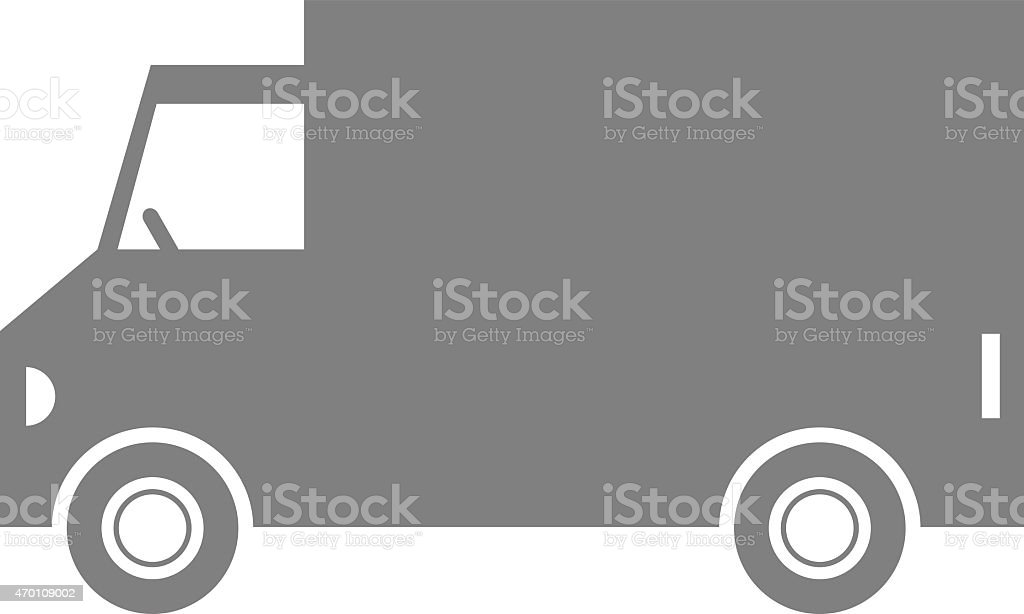 Grey delivery van vector art illustration