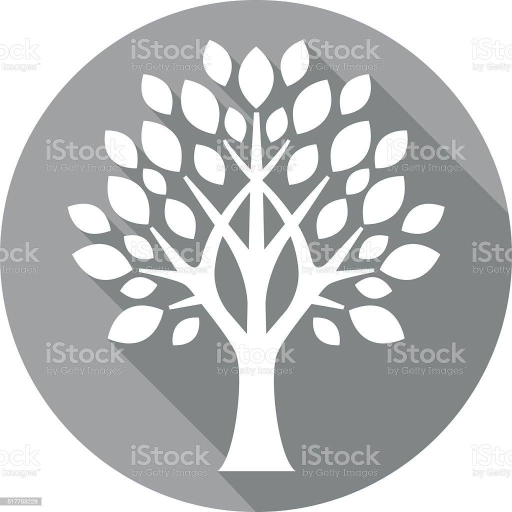 grey flat tree icon vector art illustration