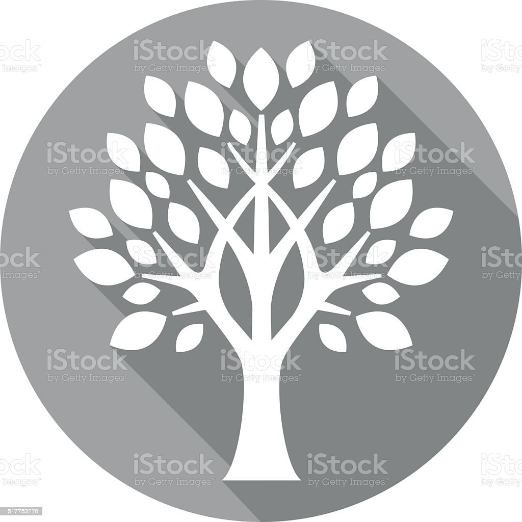 grey flat tree icon vector art illustration
