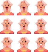 Grey haired old lady face expression avatars