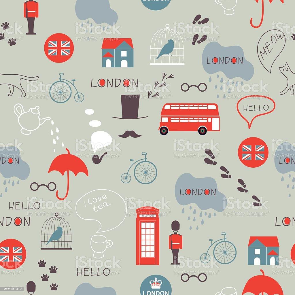 grey hand drawn vector London seamless pattern vector art illustration