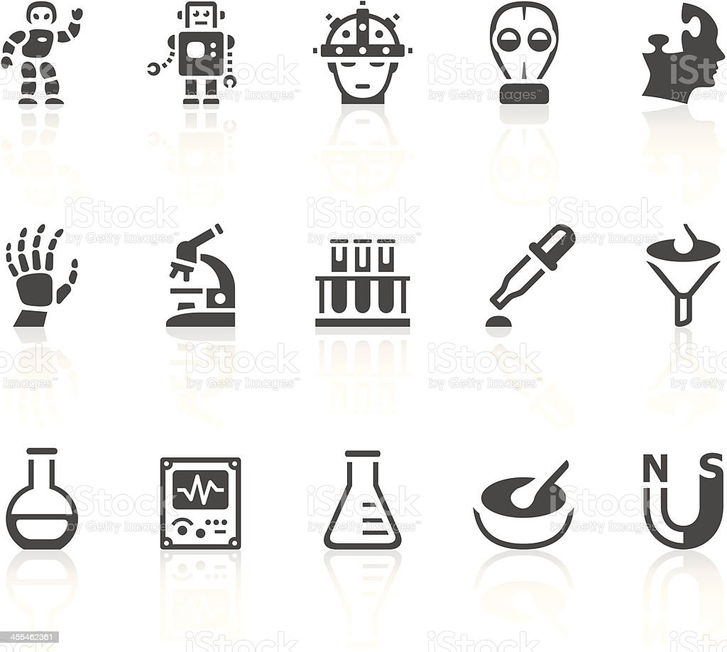 Grey icons that symbolize items in science royalty-free stock vector art