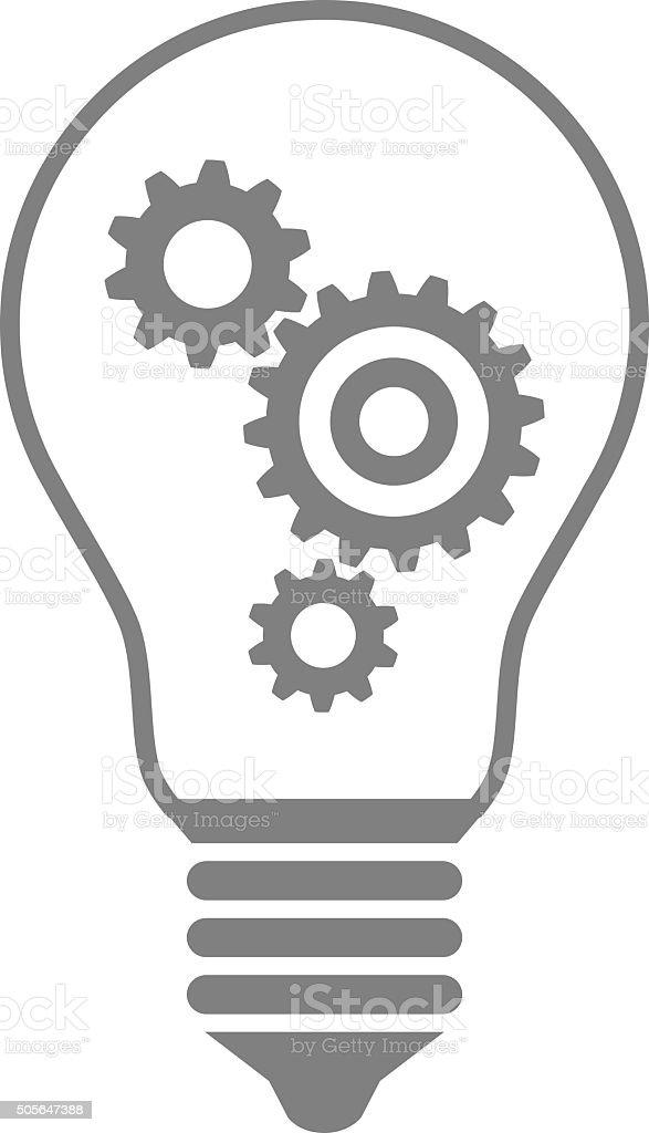 Grey light bulb icon vector art illustration