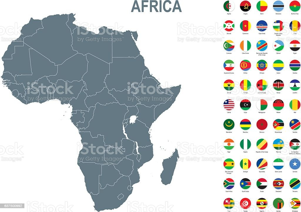 Grey map of Africa with flag against white background vector art illustration