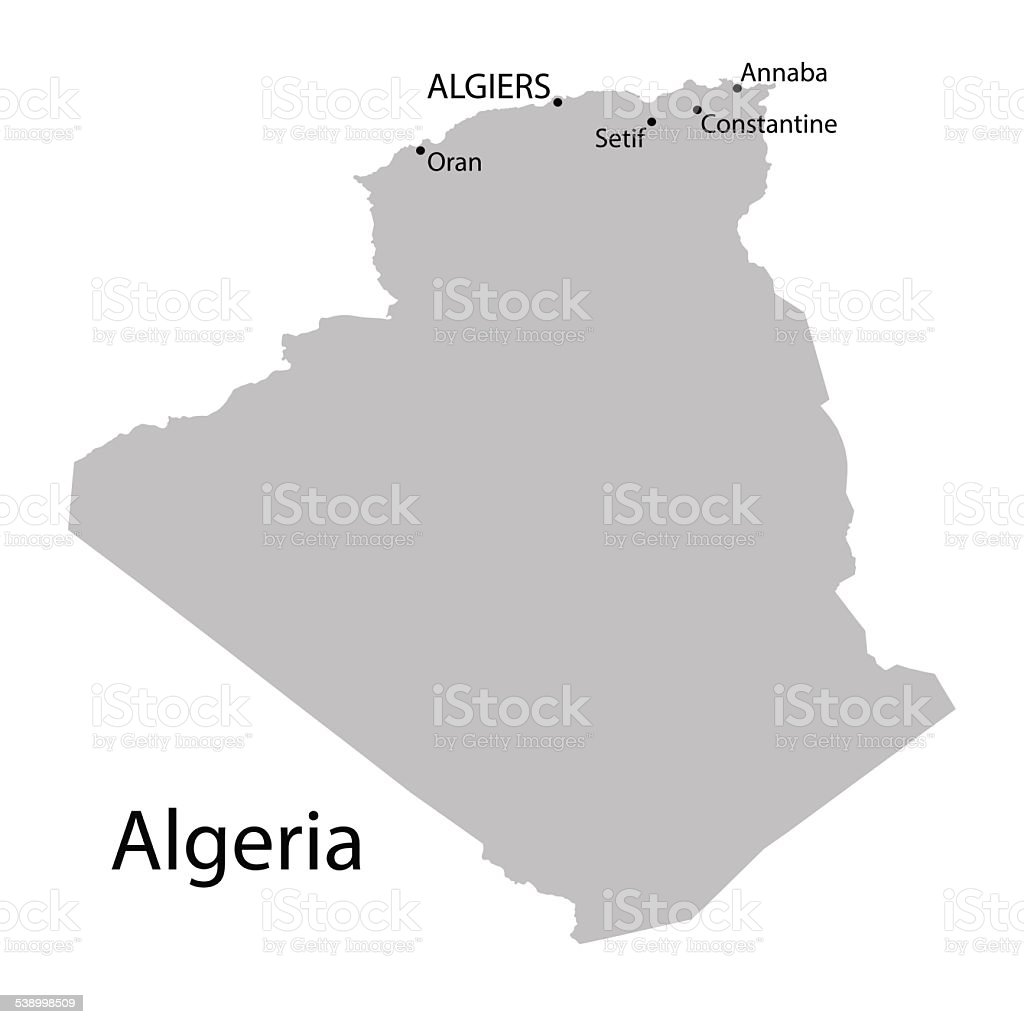 grey map of Algeria with indication of the biggest cities vector art illustration
