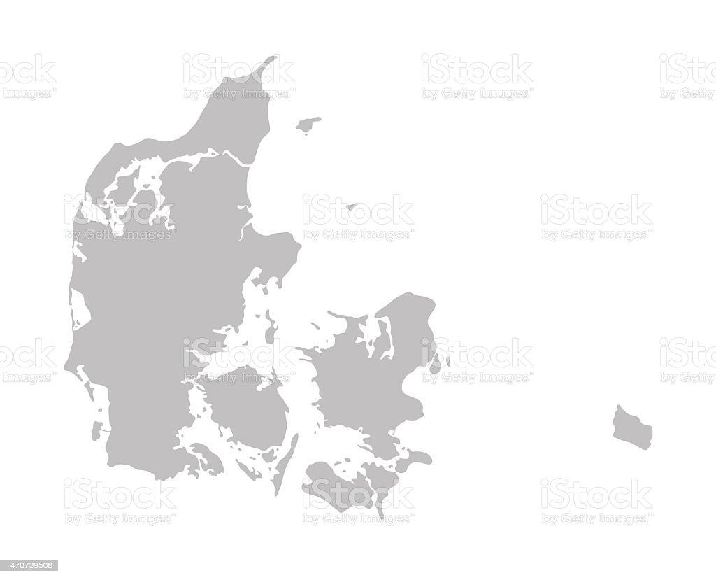 grey map of Denmark vector art illustration