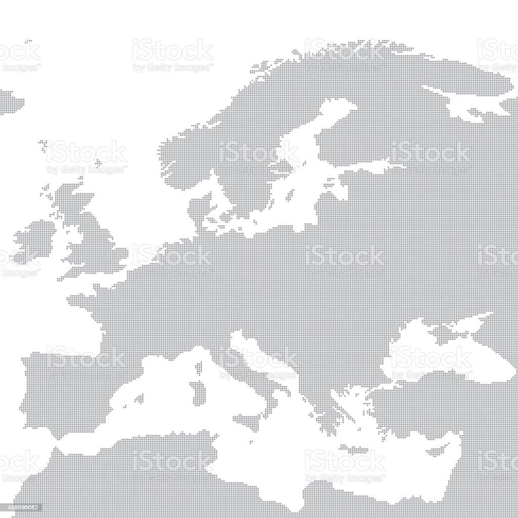 Grey map of Europe in the dot. Vector illustration vector art illustration
