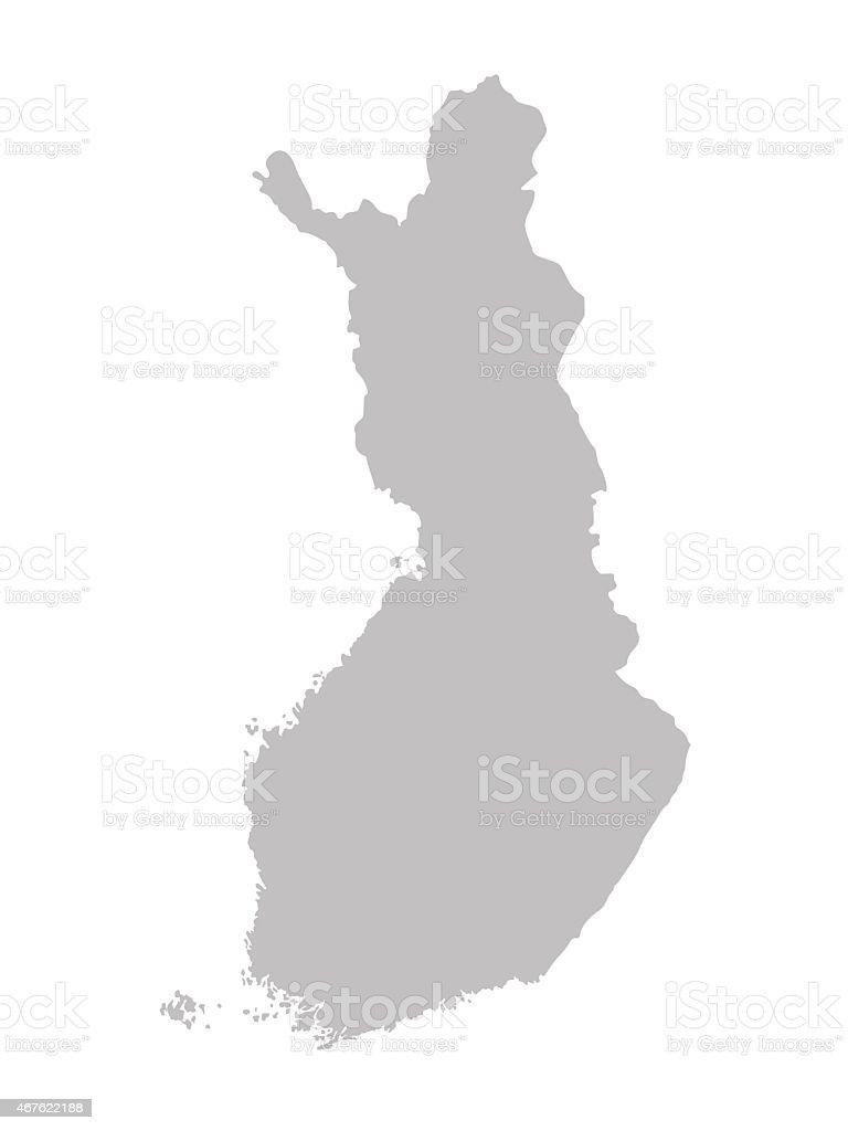 grey map of Finland vector art illustration