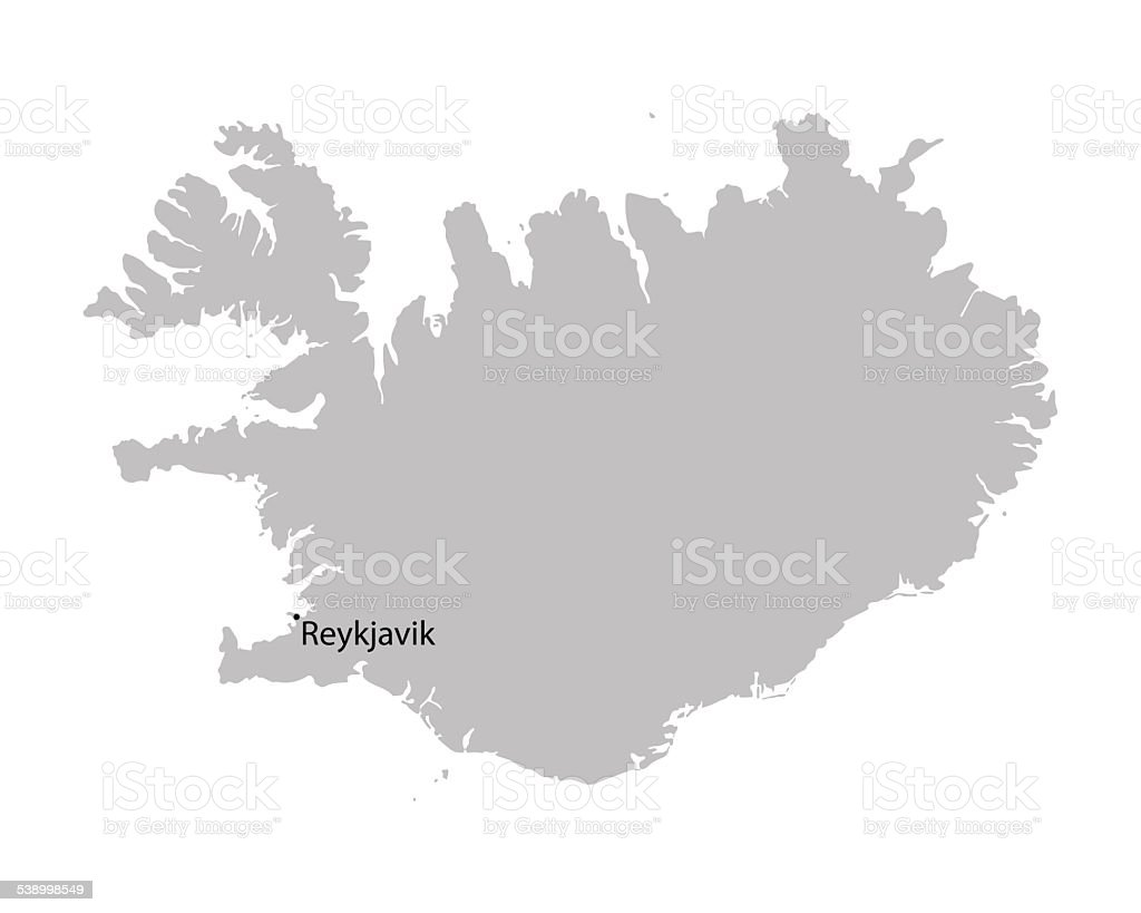 grey map of Iceland vector art illustration