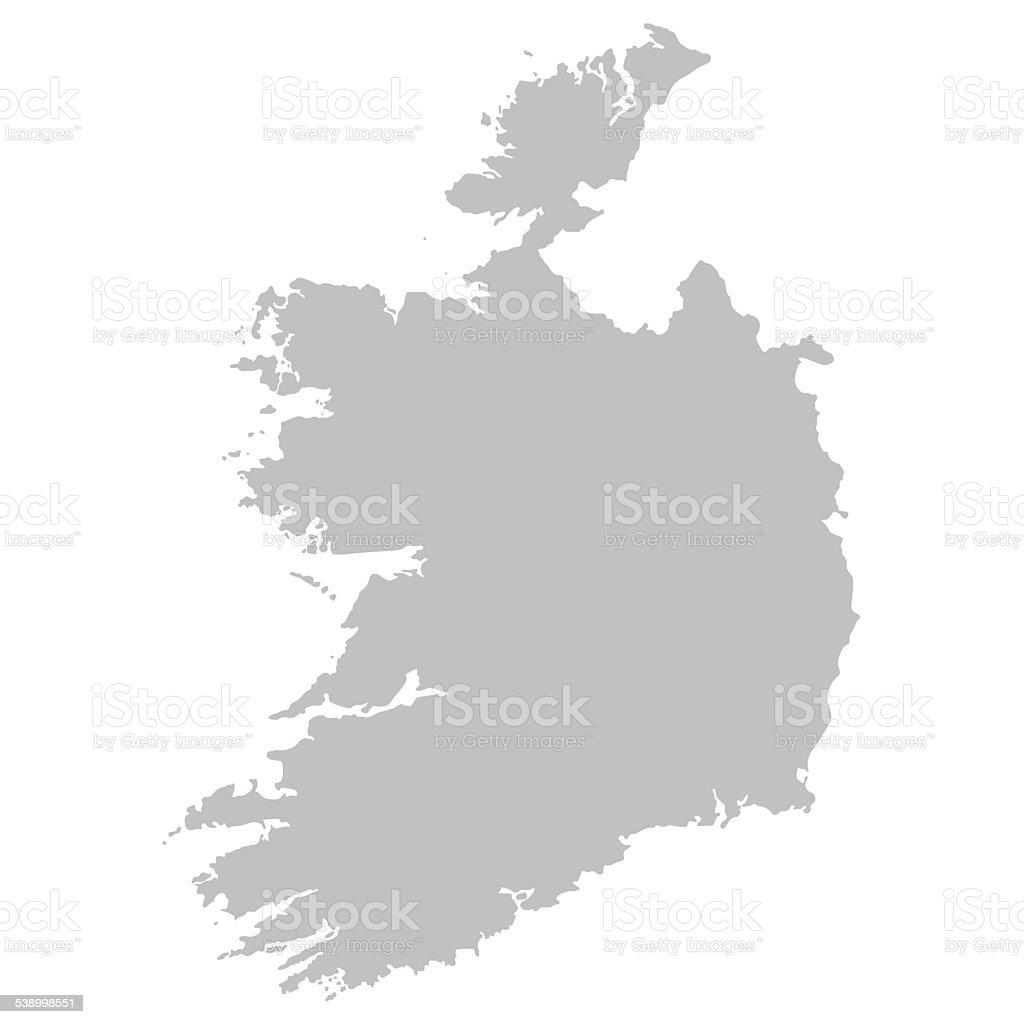 grey map of Ireland vector art illustration