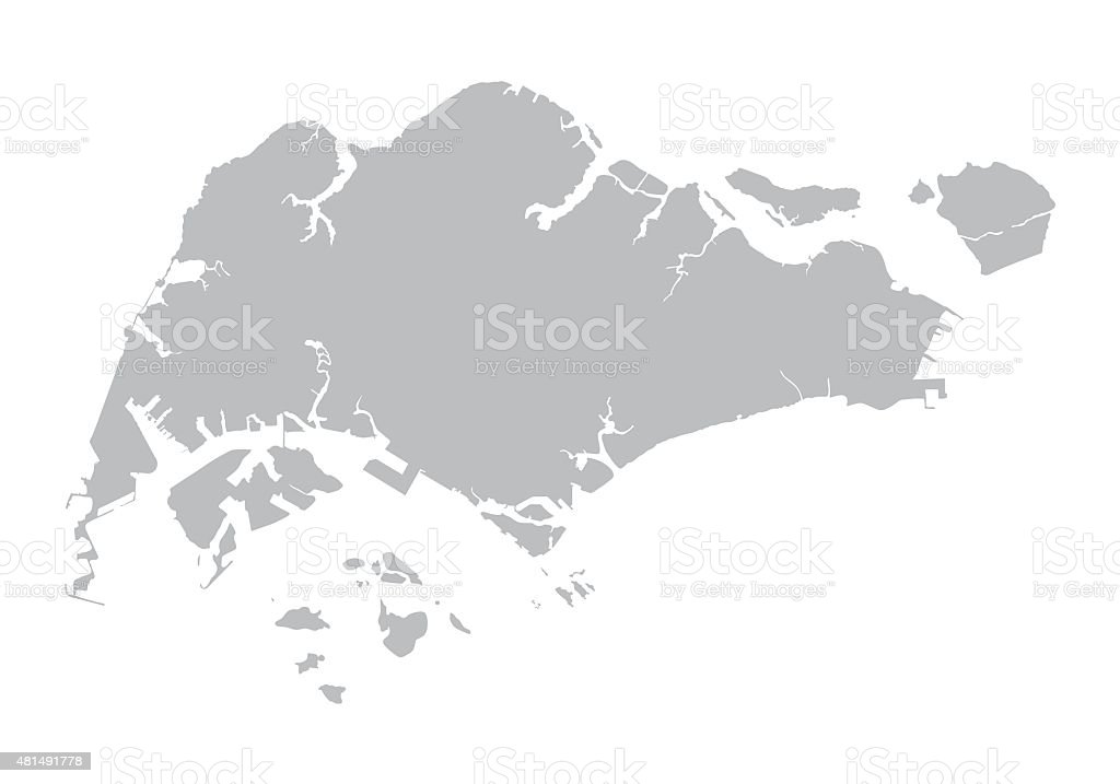 grey map of Singapore vector art illustration