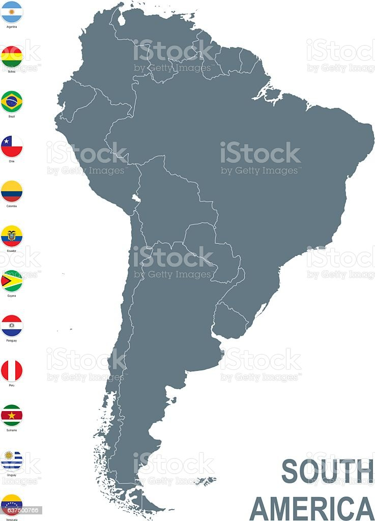 Grey map of South America with flag against white background vector art illustration