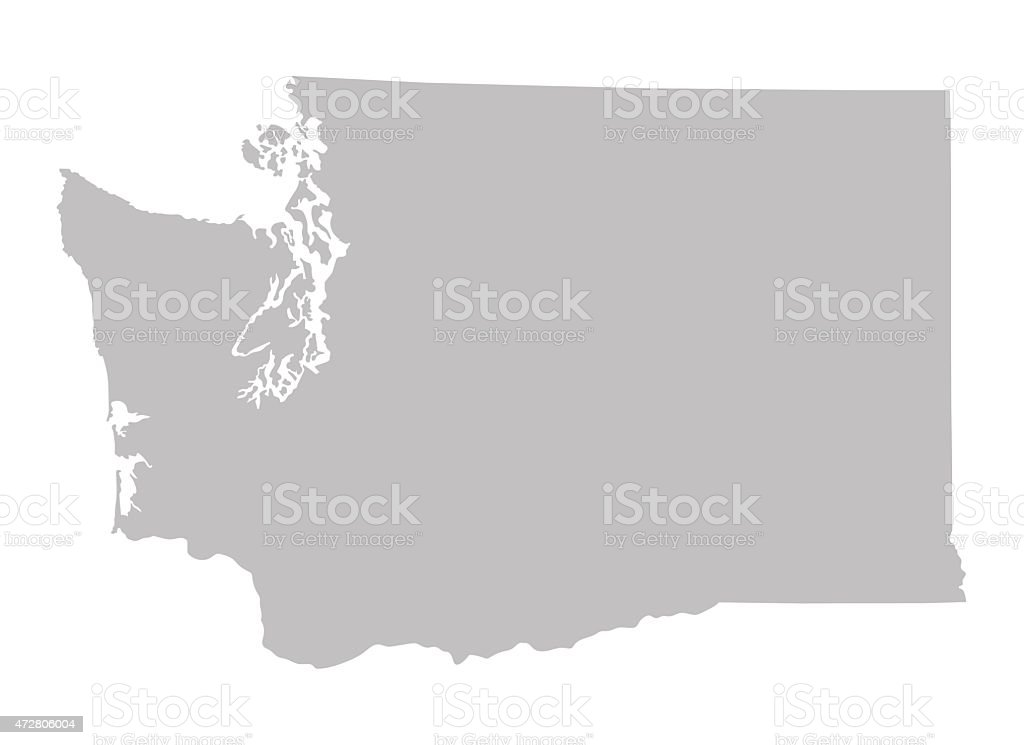 grey map of Washington vector art illustration