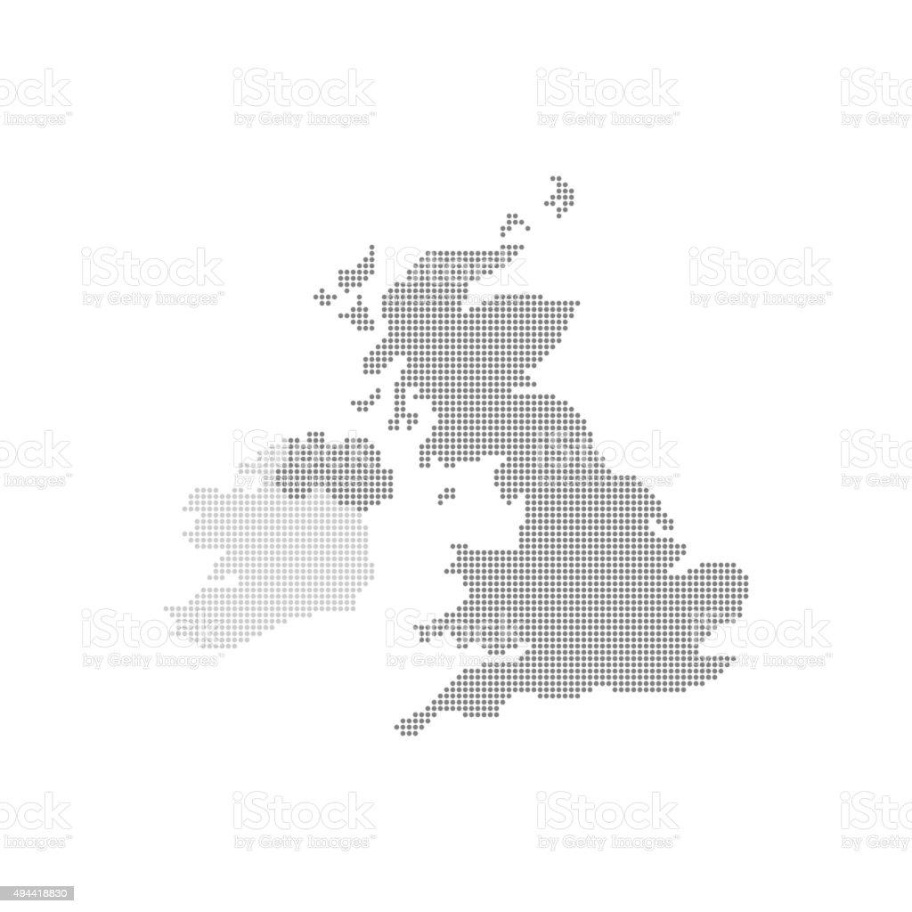Grey Map United Kingdom In The Dot . Vector illustration vector art illustration