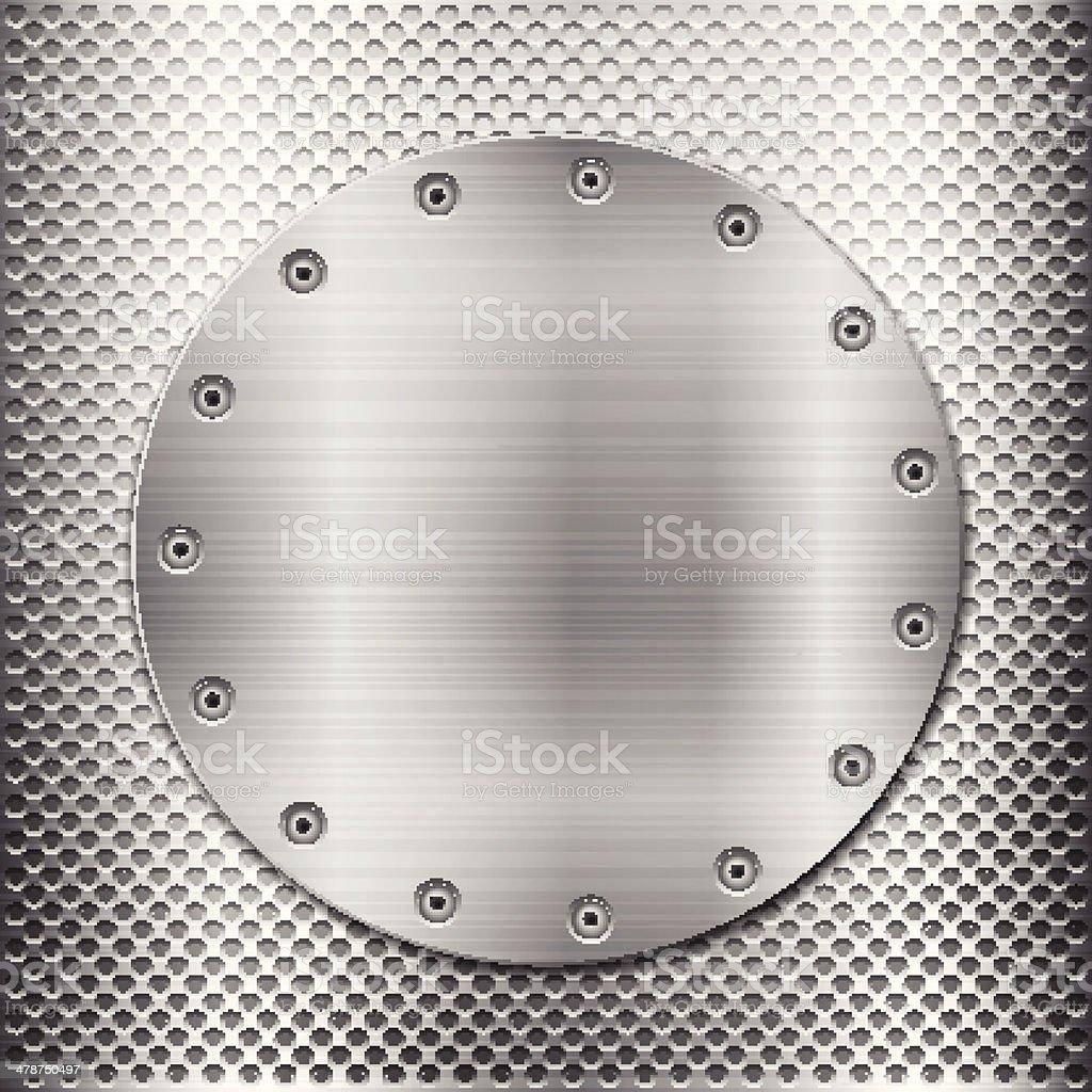 grey metal grid and circle plate vector art illustration