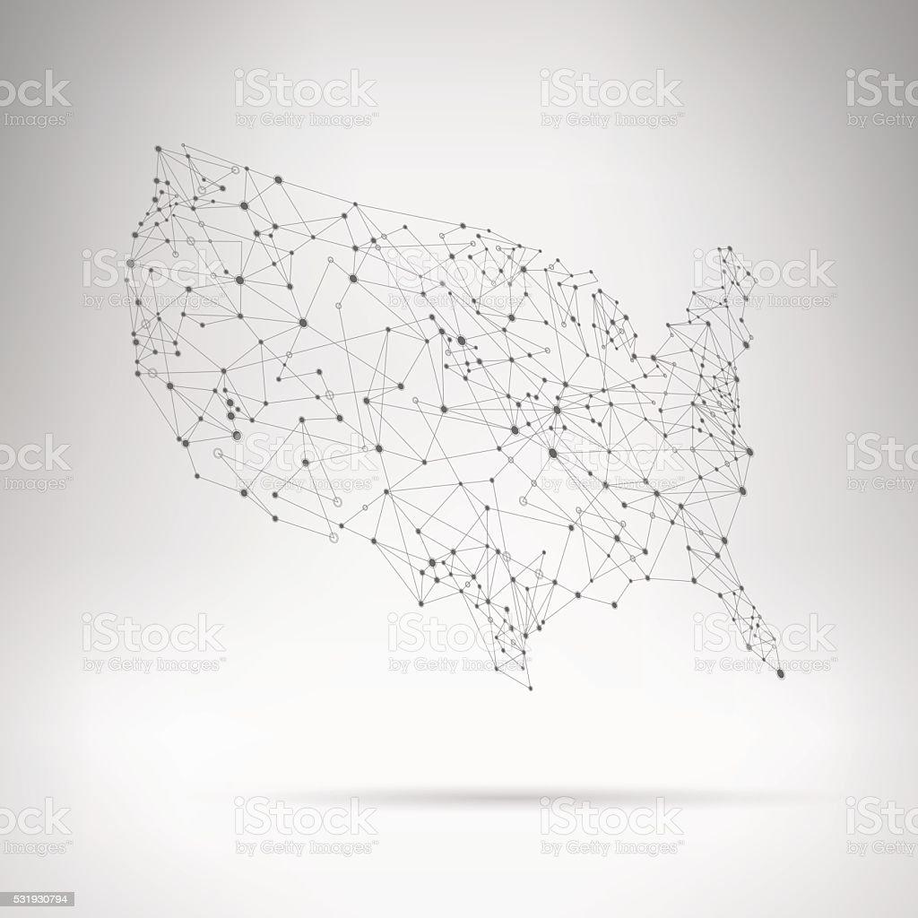 USA grey network map on gradient background vector art illustration