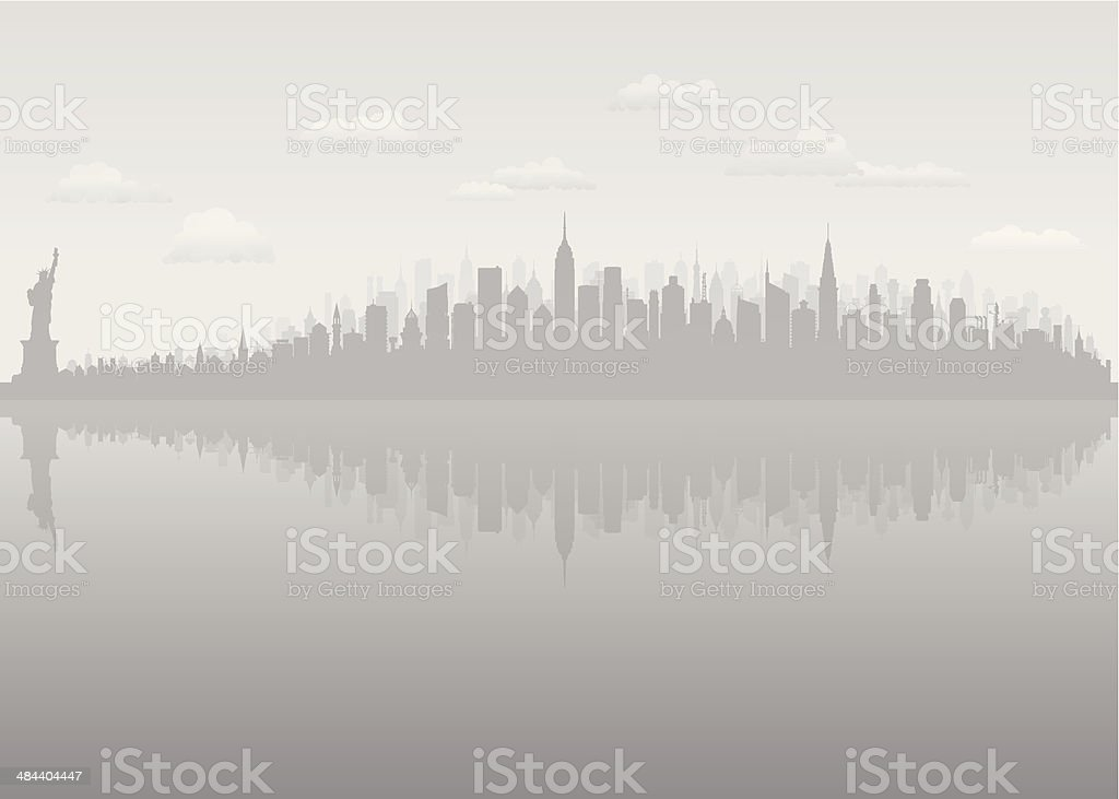 Grey New York (Complete, Moveable, Detailed Buildings) vector art illustration