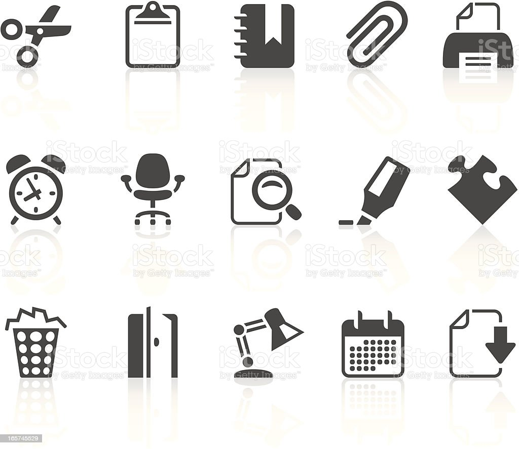 Grey office icons on a white background royalty-free stock vector art