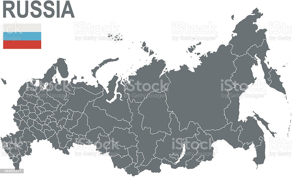 Grey plain map of Russia on white background vector art illustration