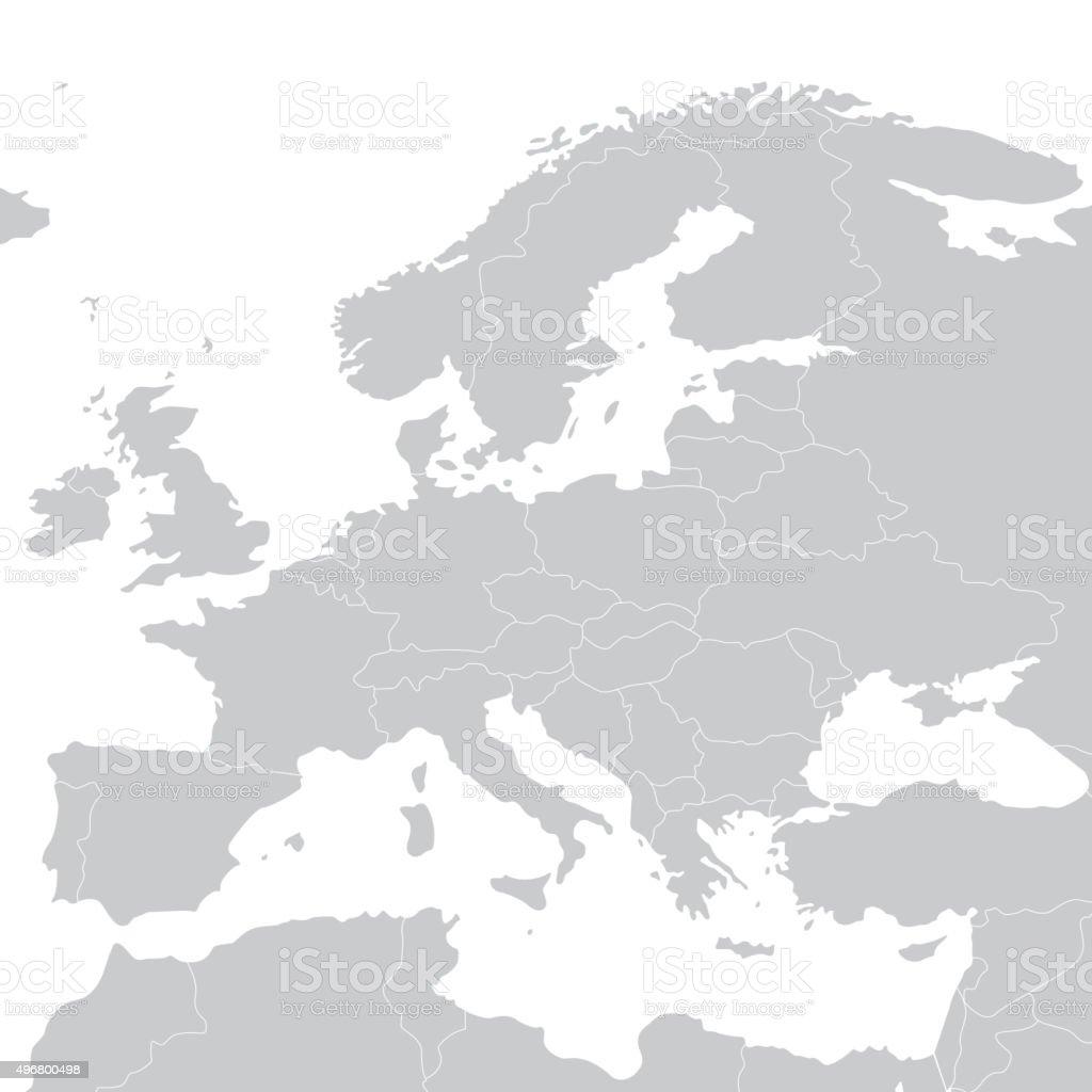 Grey political map of Europe. Vector illustration vector art illustration