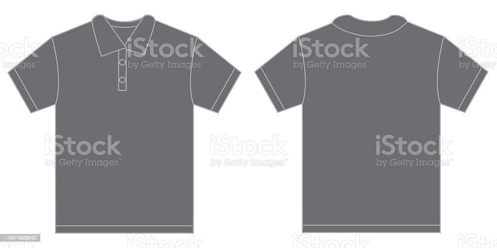 Grey Polo Shirt Design Template For Men vector art illustration
