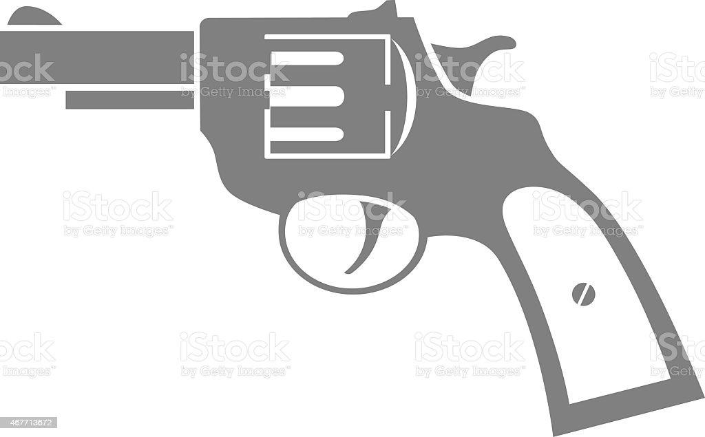 Grey revolver icon vector art illustration