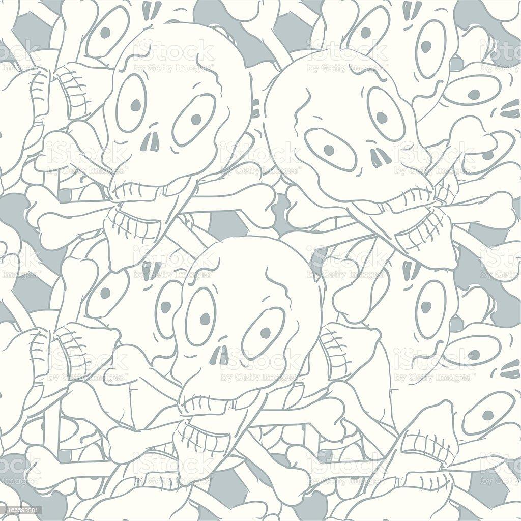 Grey Scribble Skulls Seamless Pattern - Halloween royalty-free stock vector art
