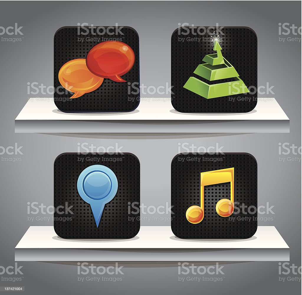 grey shelves with computer icons - vector illustration royalty-free stock vector art