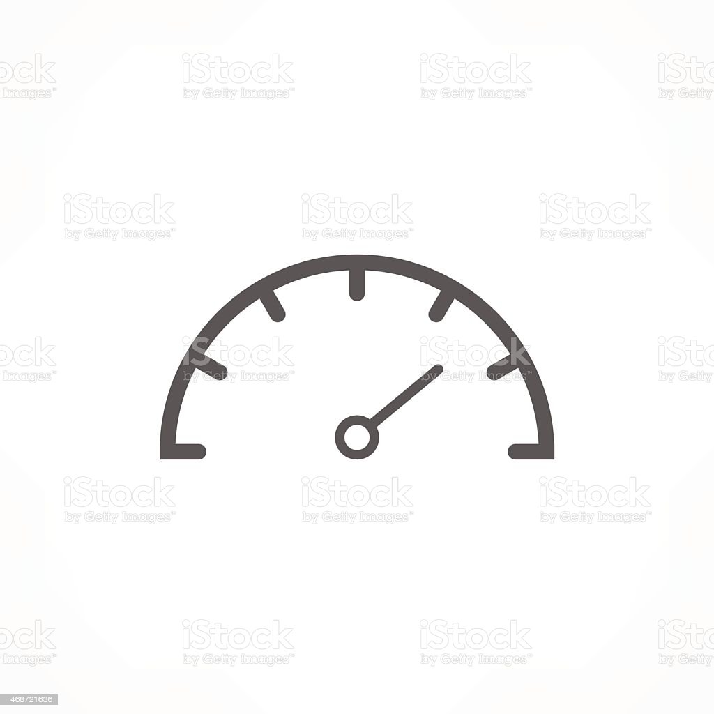 Grey speedometer icon on white background vector art illustration