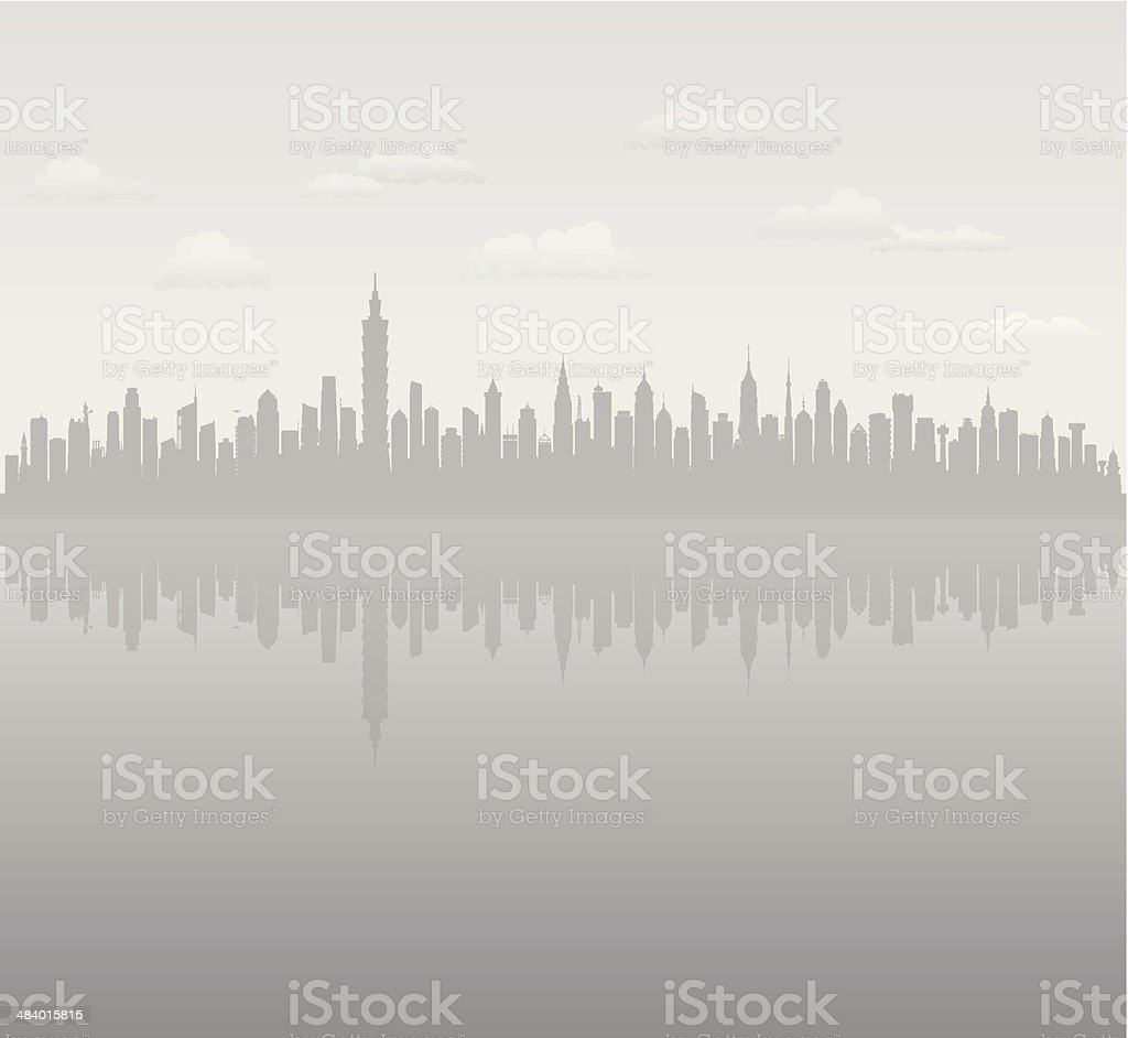 Grey Taipei (Complete, Moveable, Detailed Buildings) vector art illustration