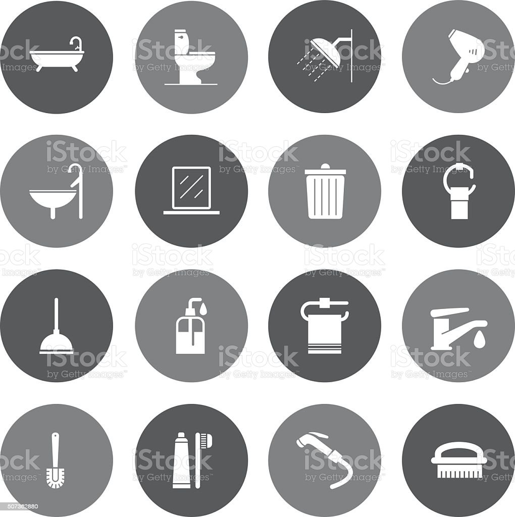 Grey Vector Bathroom - 16 Icons vector art illustration