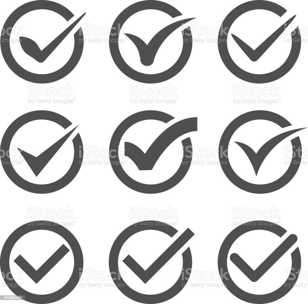 grey vector check marks or ticks in circles vector art illustration