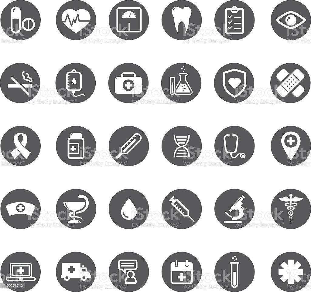 Grey vector medical buttons set vector art illustration