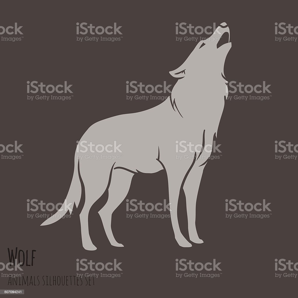 Grey Wolf Silhouette vector art illustration