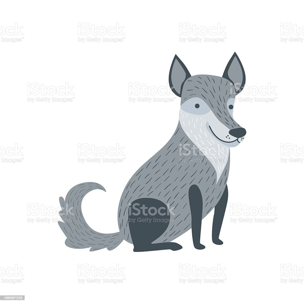 Grey Wolf Sitting Like A Dog Smiling vector art illustration