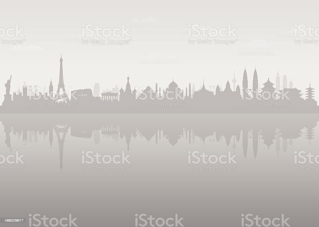 Grey World Skyline (Separate, Moveable Buildings) vector art illustration