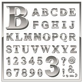 Greyscale metallic numerals and alphabet letters
