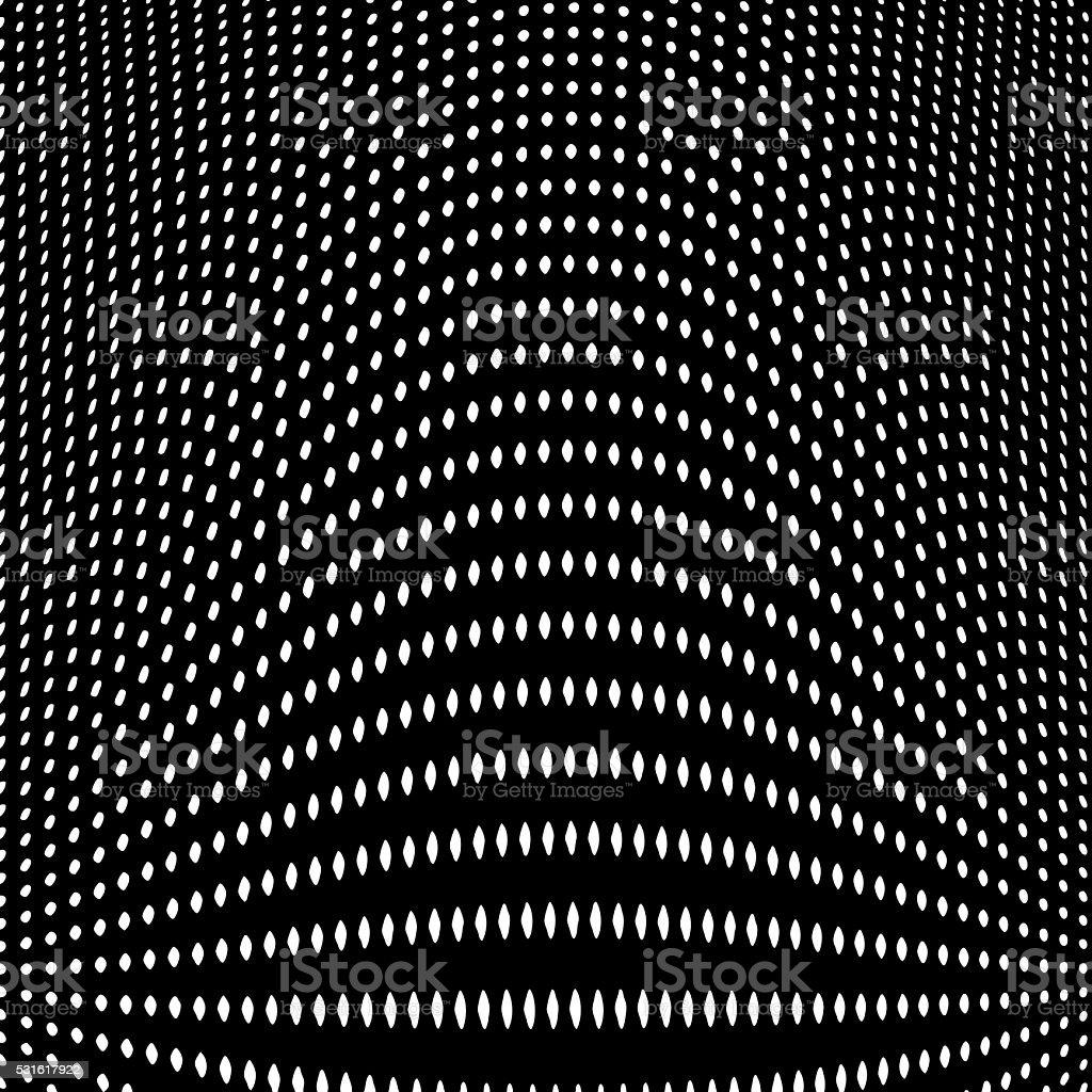 Grid Halftone Pattern on black background vector art illustration