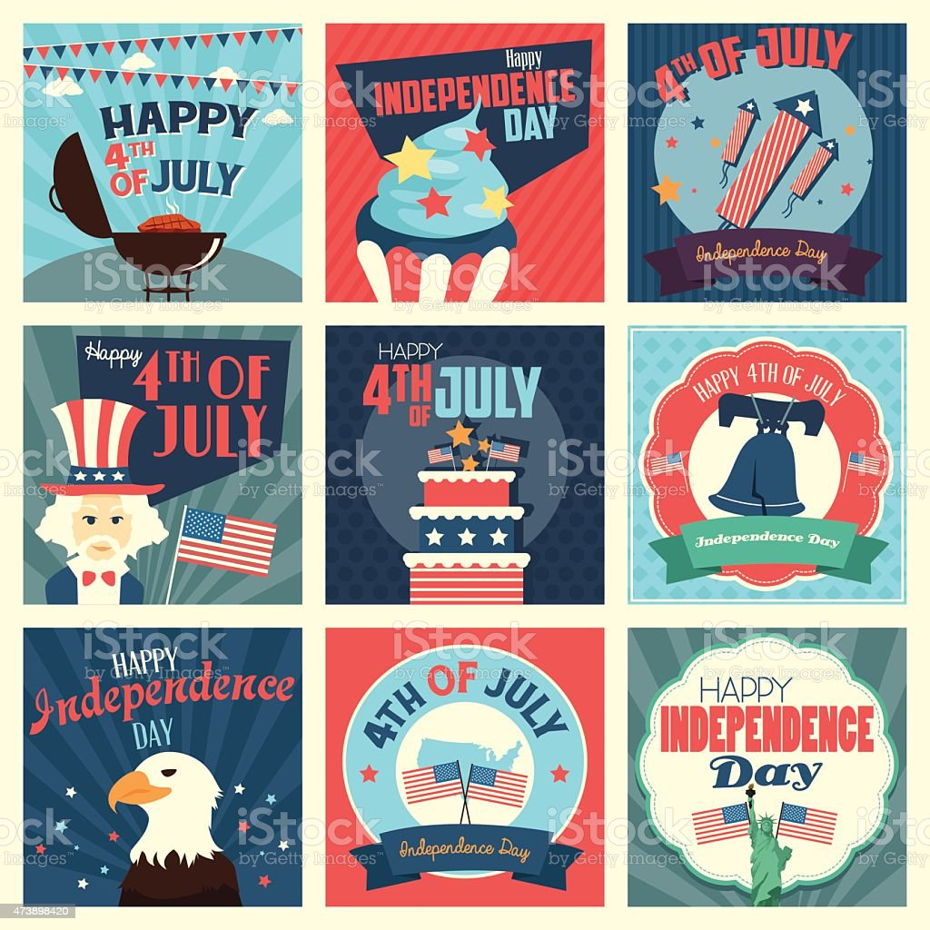 Grid of 9 July 4th icons in patriotic colors vector art illustration