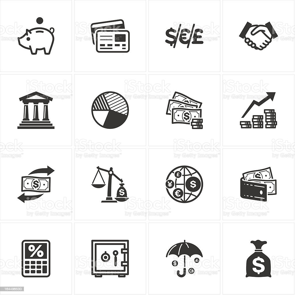 Grid of black and white financial icons royalty-free stock vector art