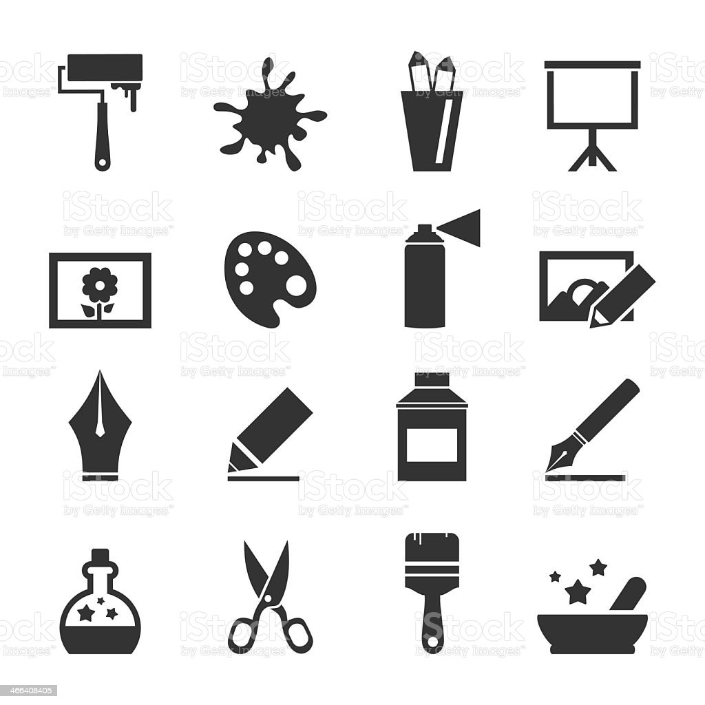 Grid of icons depicting arts and crafts vector art illustration