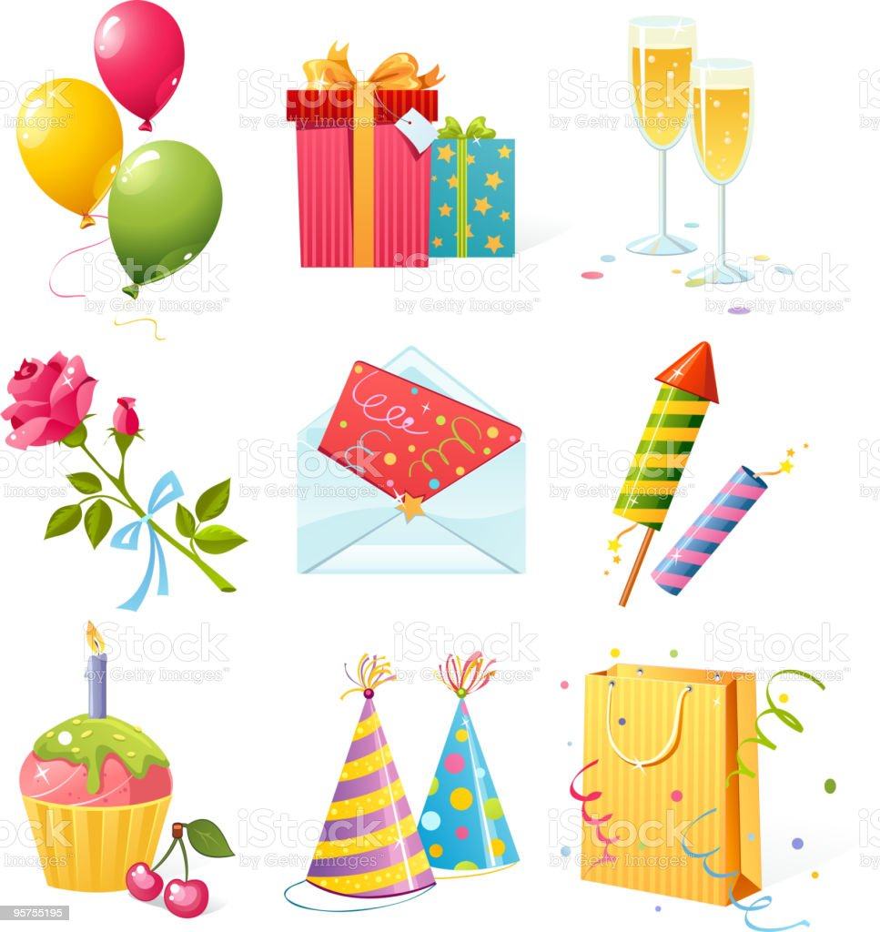 Grid of nine icons involving birthday parties royalty-free stock vector art