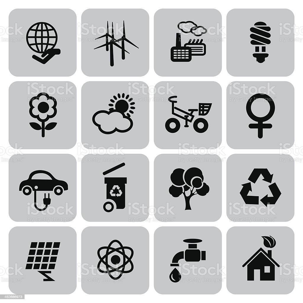 Grid of sixteen ecology icons in black and grey vector art illustration