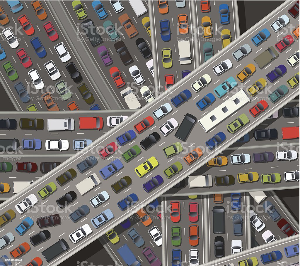 Gridlock vector art illustration