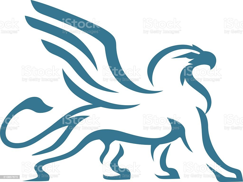 Griffin abstract blue vector art illustration