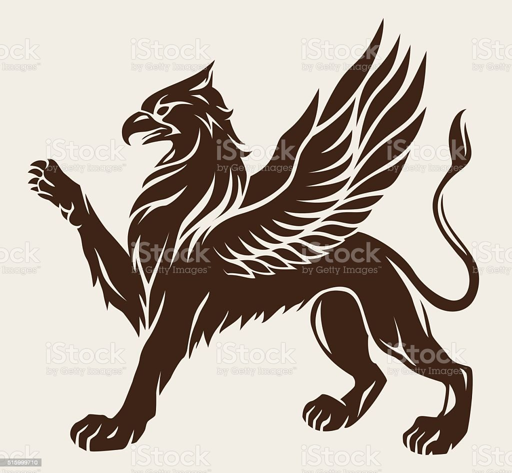 Griffin black with wings. Vector icon. Gryphon symbol vector art illustration