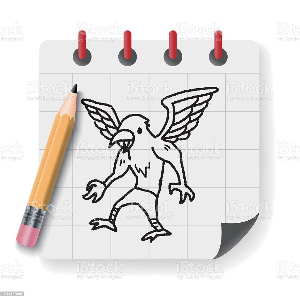 griffin doodle vector art illustration