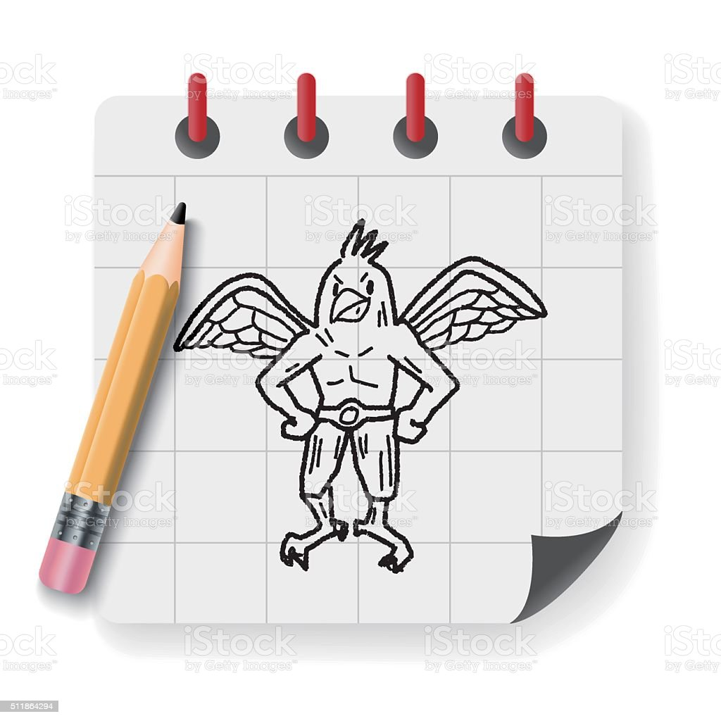 griffin doodle vector art illustration