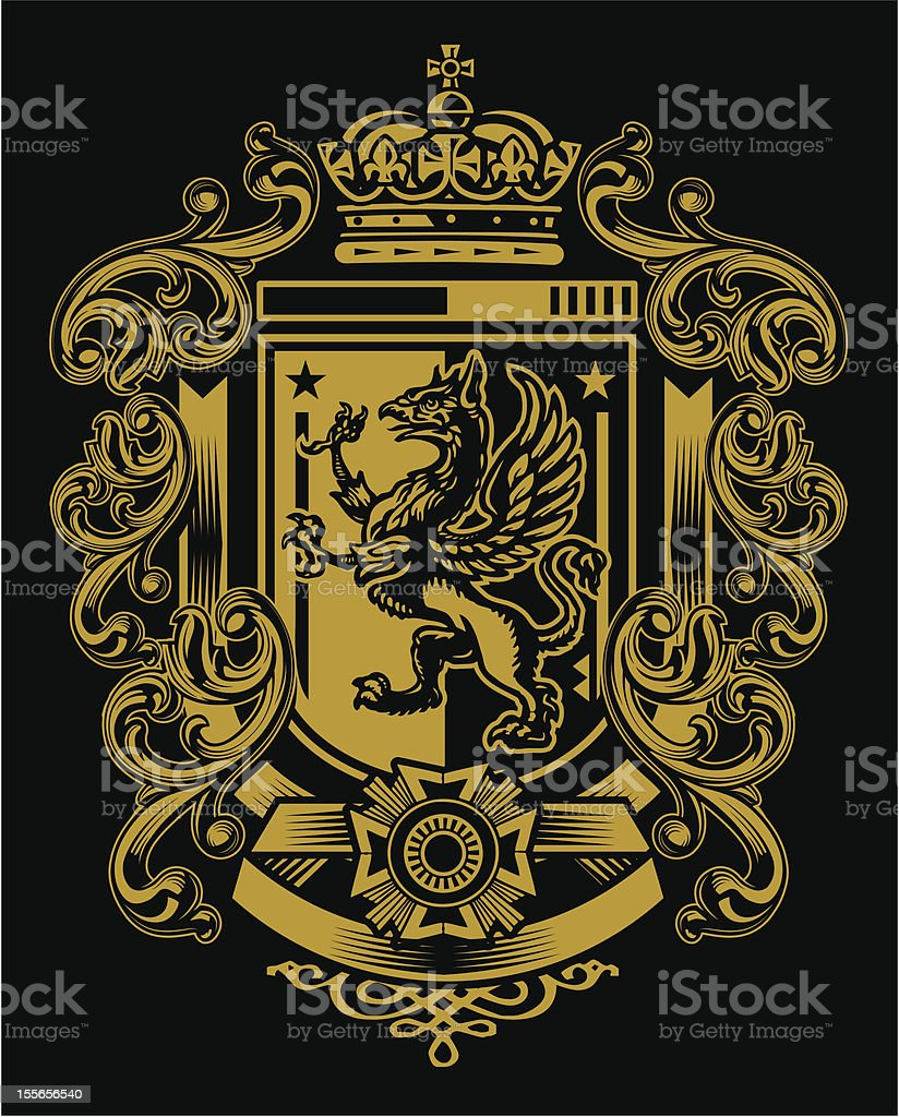 Griffin Flourish Crest vector art illustration