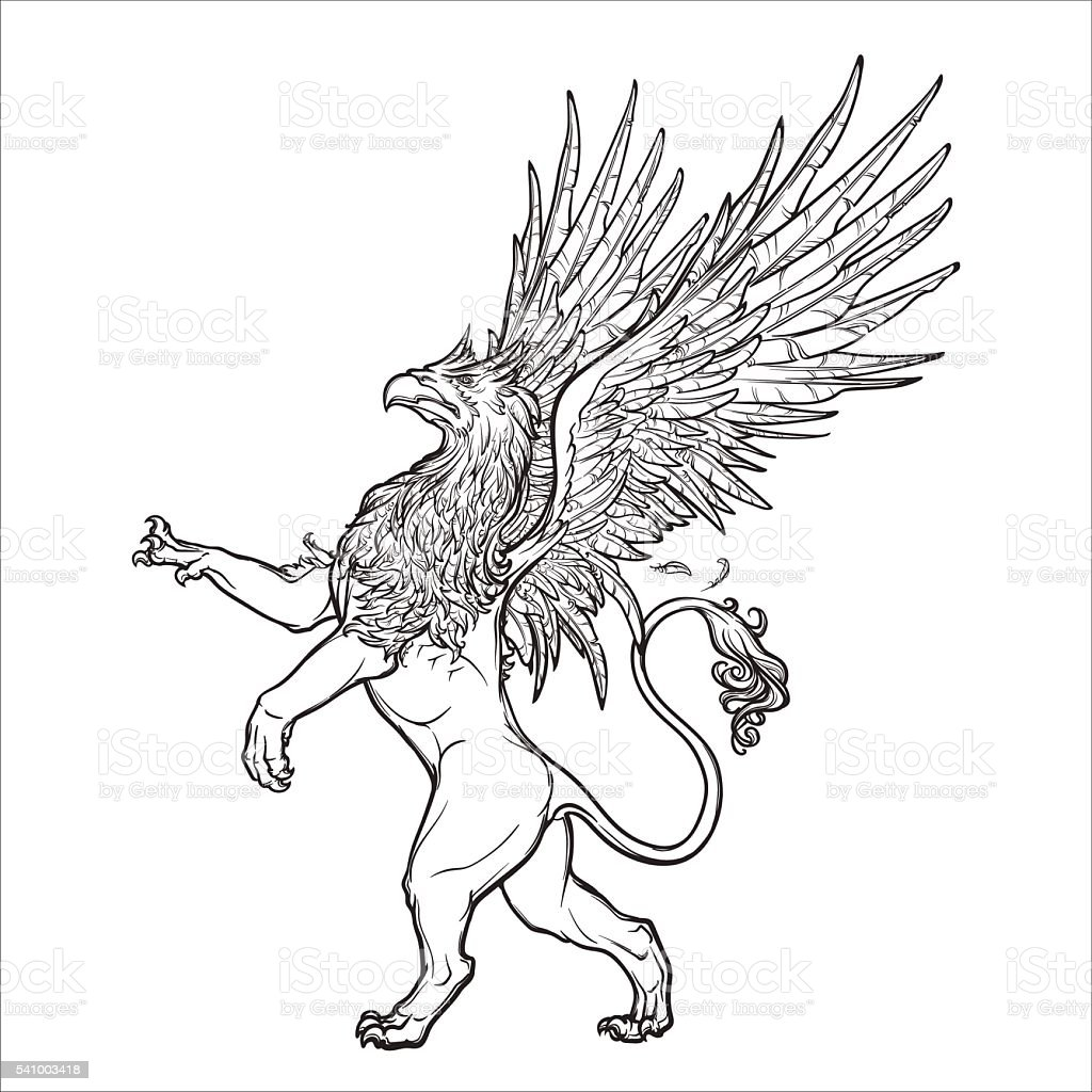 Griffin, griffon, or gryphon on grunge background. vector art illustration
